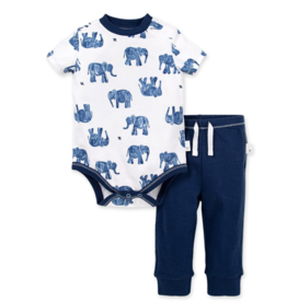 Burt's Bees Elephants Bodysuit Pant Set 24M