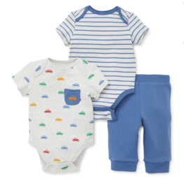 Little Me Cars 2pk Bodysuit Set 6M, 9M