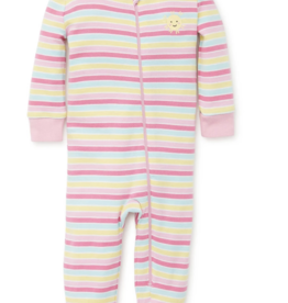 Little Me Striped Zip Front Coverall Pink 12M, 24M