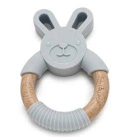 Loulou Lollipop Bunny Silicone Wood Teether  Lt Grey