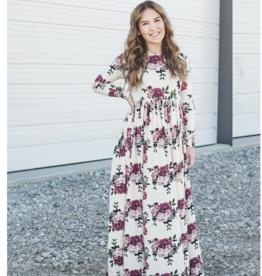 Peyton Bre Maxi Dress Ivory Mauve Floral  10