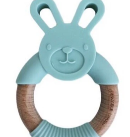 Chewable Charms Bunny Silicone Wood Teether Mint