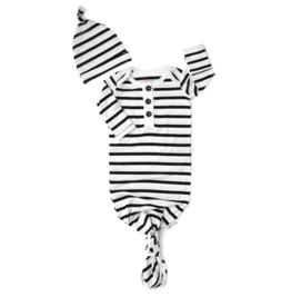 Gigi and Max Knotted Gown w/Hat Black White Stripe NB