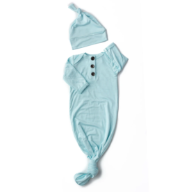 Gigi and Max Knotted Gown w/Hat Theo Light Blue  NB