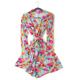 Gigi and Max Tessa Teal Floral Mommy Robe