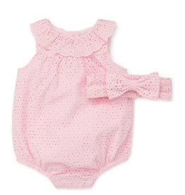 Little Me Pink Eyelet Bubble 9M