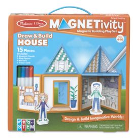 Melissa & Doug Magnetivity Set Draw & Build House
