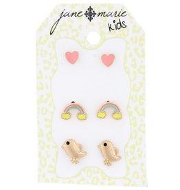 Jane Marie Pink Heart, Rainbow, Gold Bird Studs