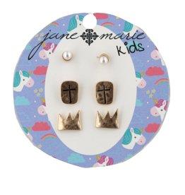 Jane Marie Pearl, Cross, Crown Studs