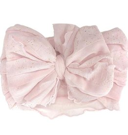 In Awe Ruffle Headwrap Lt Pink Gold Glitter