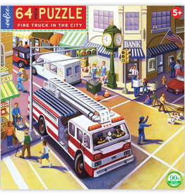eeBoo Fire Truck in the City 64 Pc Puzzle