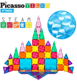 Picasso Tiles 3D Magnetic Building Blocks Mini Diamond Series 80pc