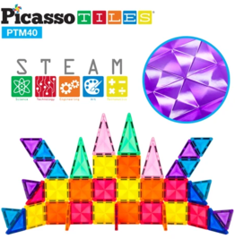 Picasso Tiles 3D Magnetic Building Blocks Mini Diamond Series 40pc