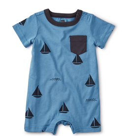 Tea Collection Sailboats Romper 12/18,18/24