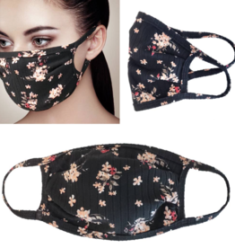 Adult Face Mask Black Floral