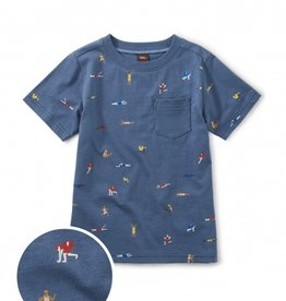 Tea Collection Printed Tee w/Pocket Olympians 2T