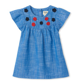 Hatley Flutter Sleeve Dress Chambray 2-4
