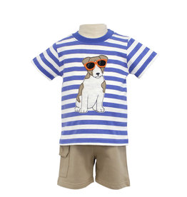 Globaltex Kids S/S Striped Cool Dog Short Set 12M, 18M