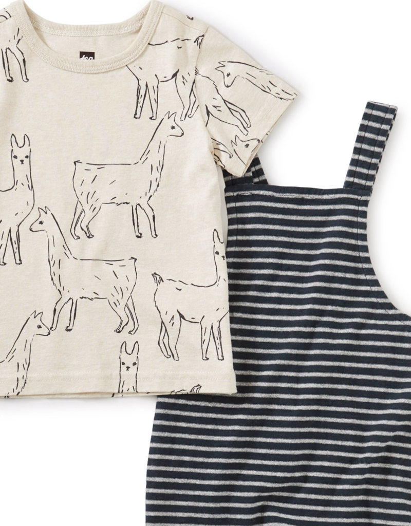Tea Collection Striped Overall Set Llama Love