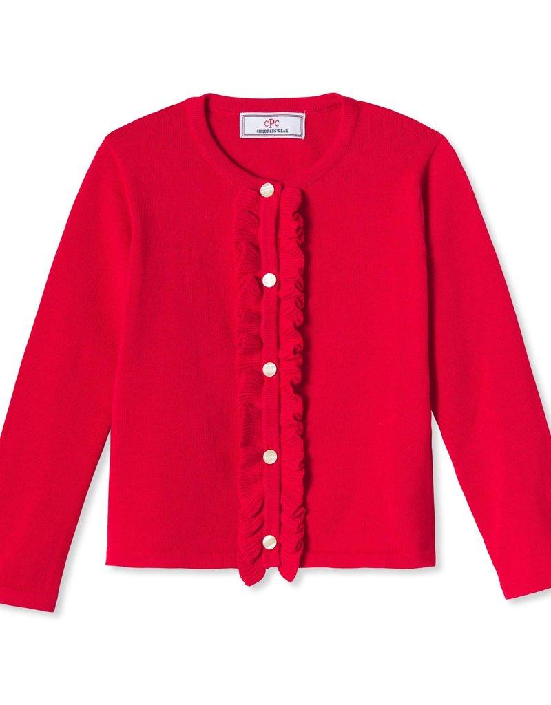 Classic Prep Ruffle Front Cardigan Crimson Red