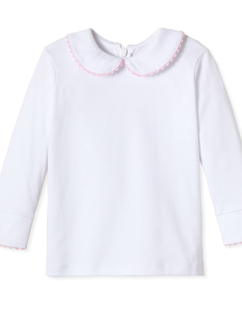 Classic Prep Isabelle L/S Peter Pan Shirt w/Pink Ric Rac 12/18M-7
