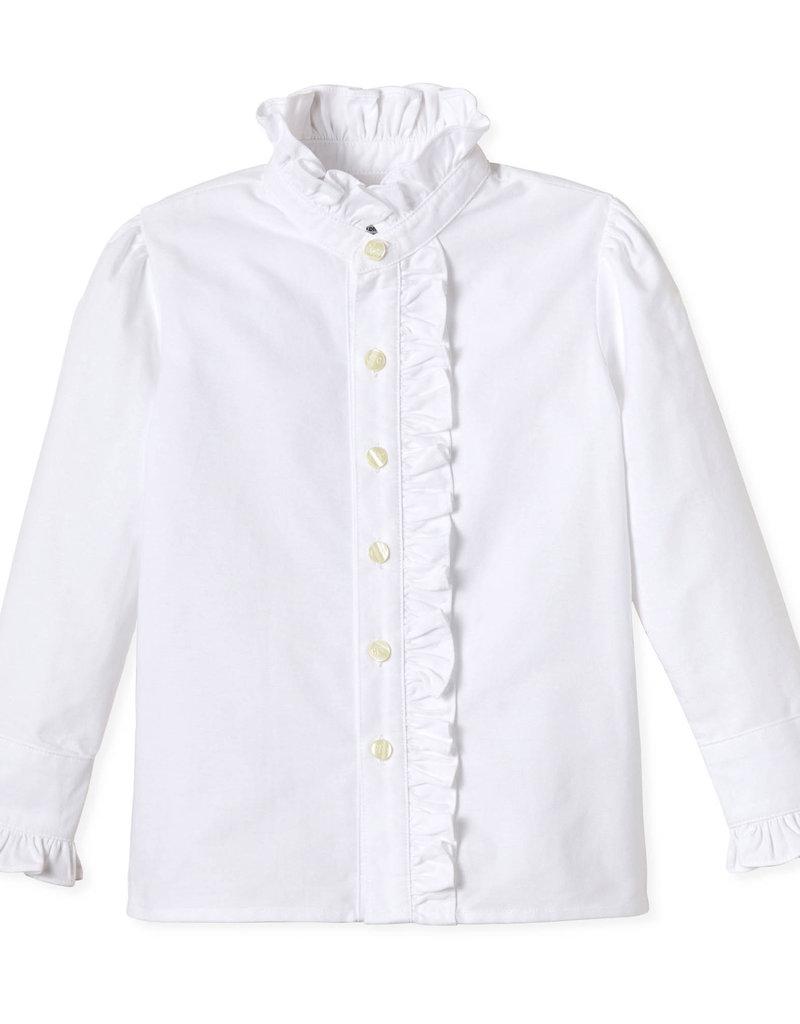 Classic Prep Ginny Ruffle Button Front White