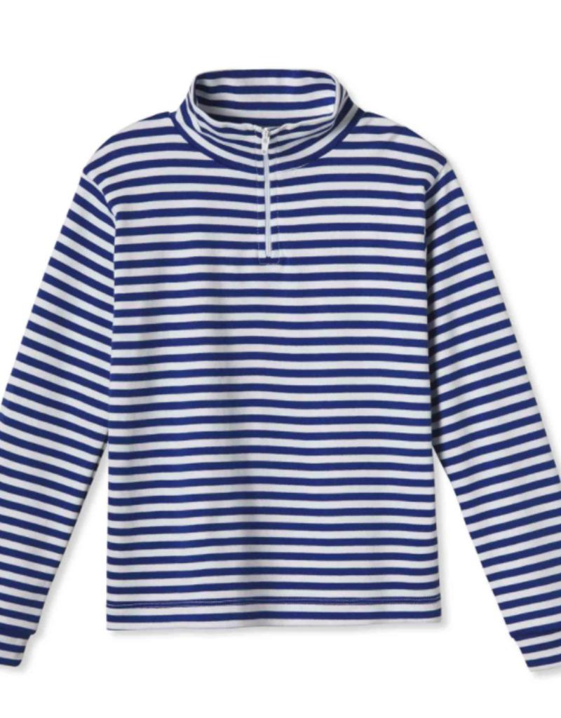 Classic Prep Harrison 1/4 Zip Bright Navy/White Stripe