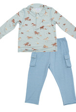 Angel Dear Wild Horses Polo Top Pant Set 3/6M-18/24M