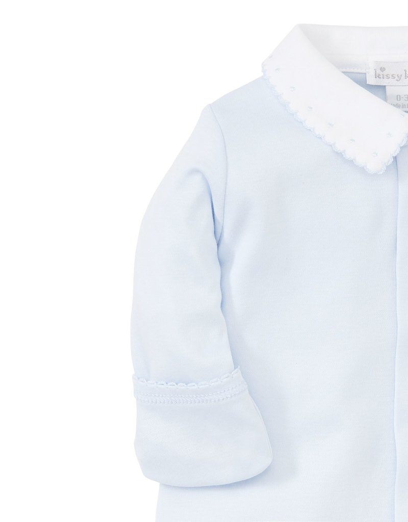Kissy Kissy New Beginnings Footie w/Collar Lt Blue