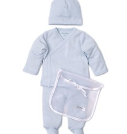 Kissy Kissy Pointele Footie Hat set Light Blue w/Tule Bag
