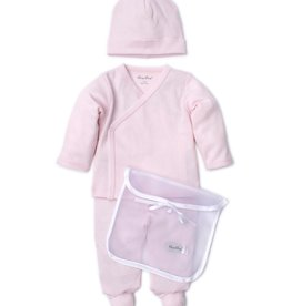 Kissy Kissy Pointele Footie Hat set Pink w/Tule Bag