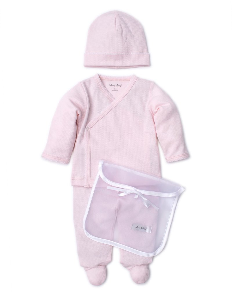 Kissy Kissy Pointele Footie Hat set Pink w/Tule Bag