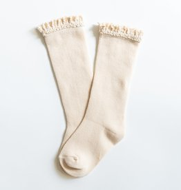 Little Stocking Co. Lace Top Knee Highs Vanilla Cream