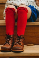 Little Stocking Co. Lace Top Knee Highs True Red 0/6M-7/10yr