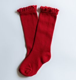 Little Stocking Co. Lace Top Knee Highs True Red
