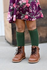 Little Stocking Co. Lace Top Knee Highs Forest Green