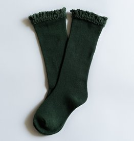 Little Stocking Co. Lace Top Knee Highs Green 0/6M-7/10yr