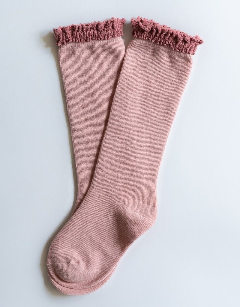 Little Stocking Co. Lace Top Knee Highs Blush Mauve
