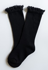 Little Stocking Co. Lace Top Knee Highs Black 0/6M-7/10yr