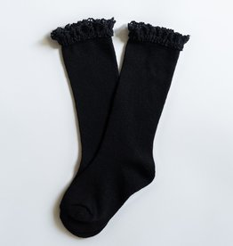 Little Stocking Co. Lace Top Knee Highs Black