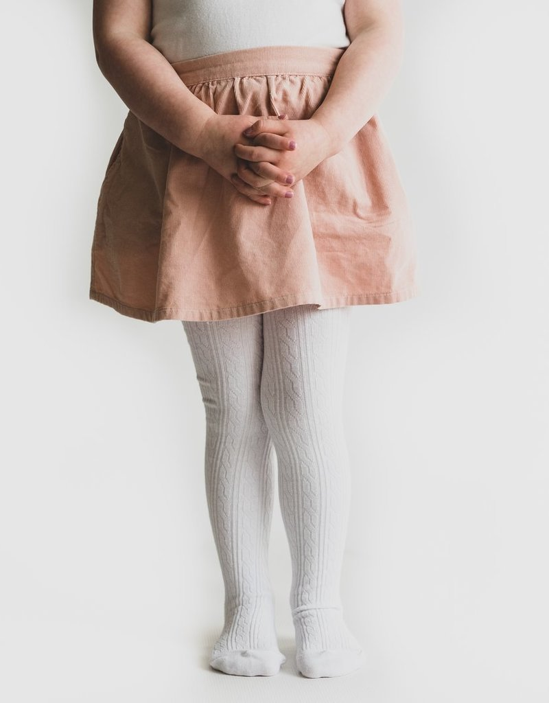 Little Stocking Co. Cable Knit Tights White 0/6M-7/8yr