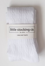 Little Stocking Co. Cable Knit Tights White
