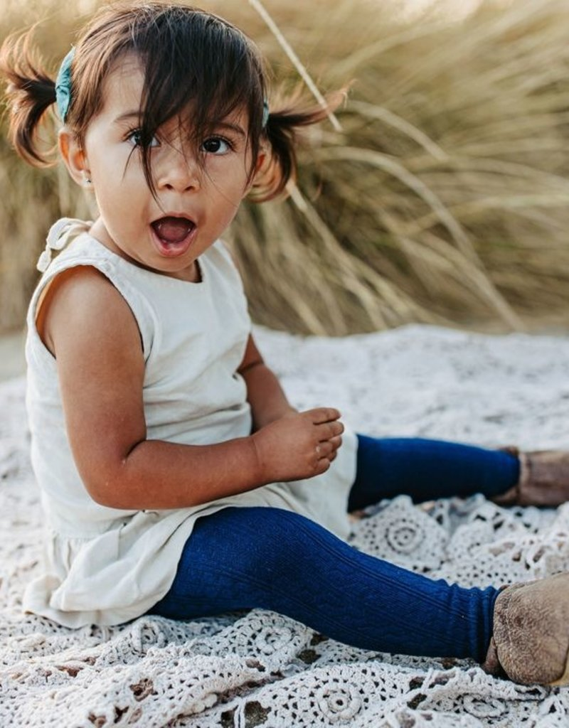 Little Stocking Co. Cable Knit Tights Navy 0/6M-7/8yr