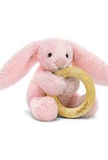 Jellycat Bashful Bunny Blush  Wooden Ring Rattle