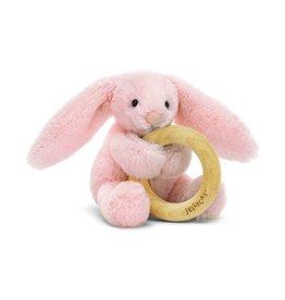 Jellycat Bashful Bunny Blush  Wooden Ring Toy