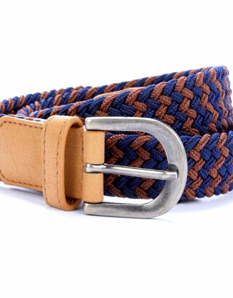 Peppercorn Kids Boys Zig Zag Stretch Cord Belt Brown/Navy