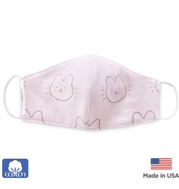 SwaddleDesigns 2 Layer Cotton Kids Mask Bunnie