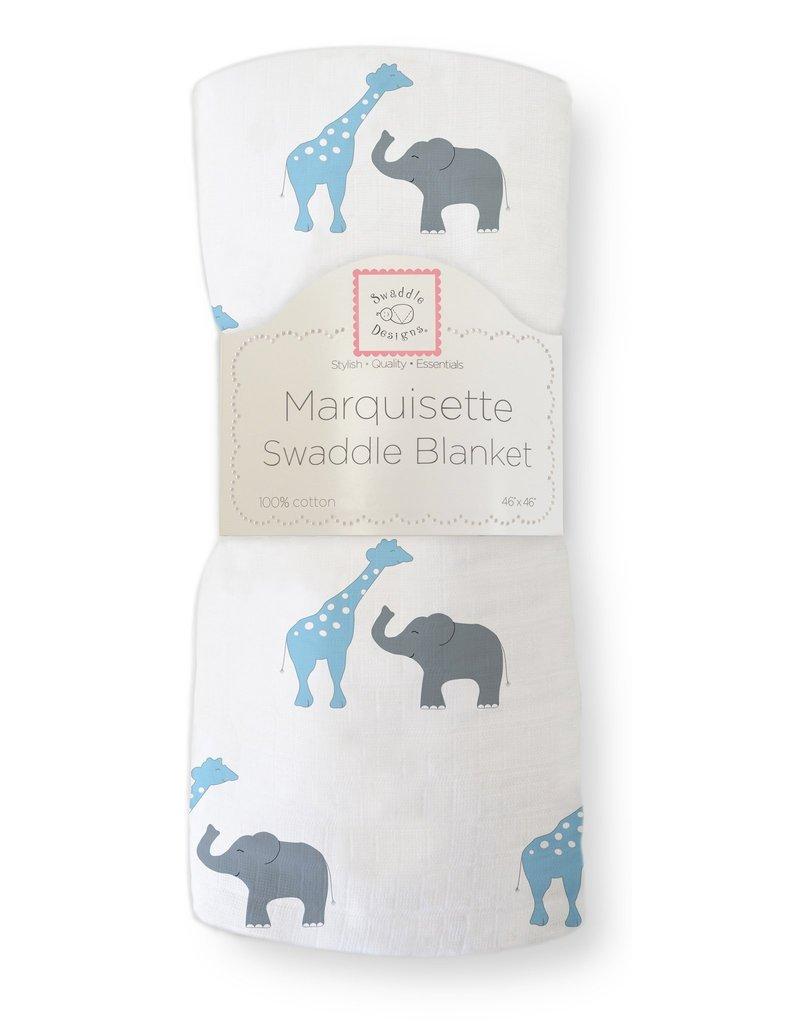 SwaddleDesigns Marquisette Swaddle Safari Fun Blue