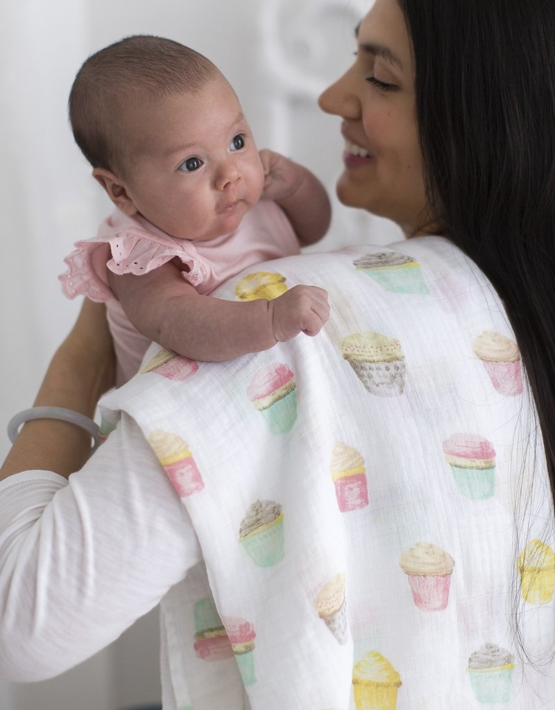 SwaddleDesigns Marquisette Swaddle Watercolor Cupcakes/Mini Multi Dots Set
