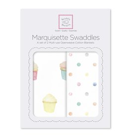 SwaddleDesigns Marquisette Swaddle Cupcakes/Mini Multi Dots Set